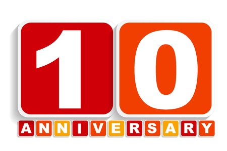 selebration: Ten 10 Years Anniversary Label Sign for your Date. Vector Illustration EPS10
