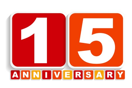 selebration: Fifteen 15 Years Anniversary Label Sign for your Date. Vector Illustration EPS10