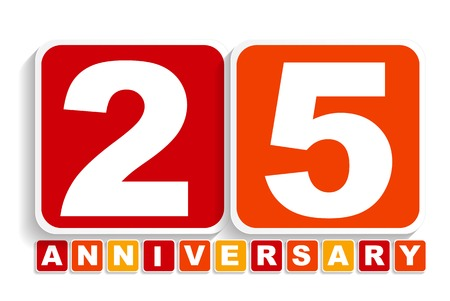 selebration: Twenty Five 25 Years Anniversary Label Sign for your Date. Vector Illustration EPS10 Illustration