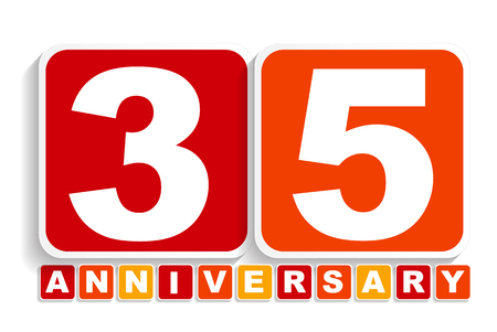 selebration: Thirty Five 35 Years Anniversary Label Sign for your Date. Vector Illustration EPS10