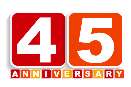 forty: Forty Five Years Anniversary Label Sign for your Date. Vector Illustration EPS10 Illustration