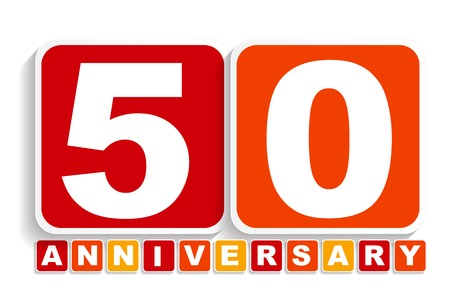 50 years jubilee: Fifty 50 Years Anniversary Label Sign for your Date. Vector Illustration EPS10
