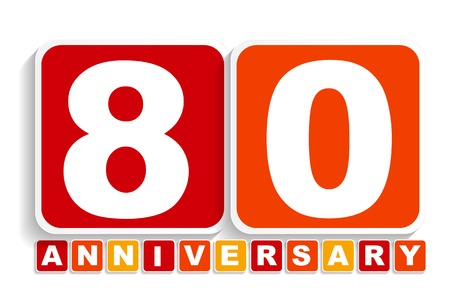 eighty: Eighty 80 Years Anniversary Label Sign for your Date. Vector Illustration EPS10