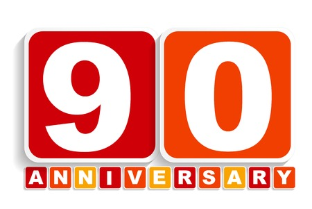 ninety: Ninety 90 Years Anniversary Label Sign for your Date. Vector Illustration EPS10 Illustration