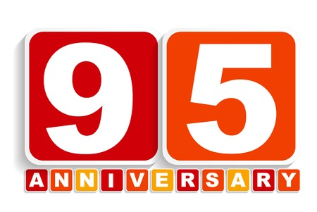 selebration: Ninety Five 95 Years Anniversary Label Sign for your Date. Vector Illustration EPS10 Illustration