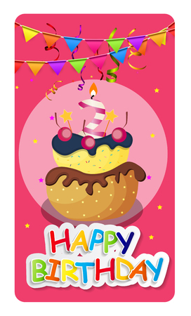 baner: Happy Birthday Card Baner Background  with Cake and Flags. Vector Illustration EPS10