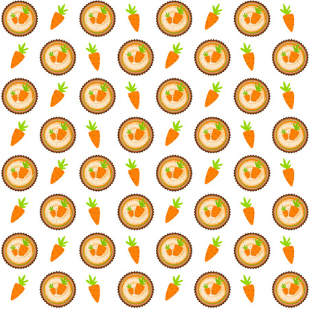 carrot cakes: Sweet Cakes with Carrot Seamless Pattern Background Vector Illustration EPS10