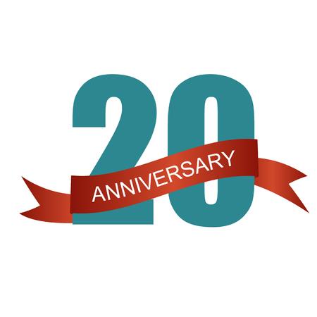 twenty: Twenty 20 Years Anniversary Label Sign for your Date. Vector Illustration