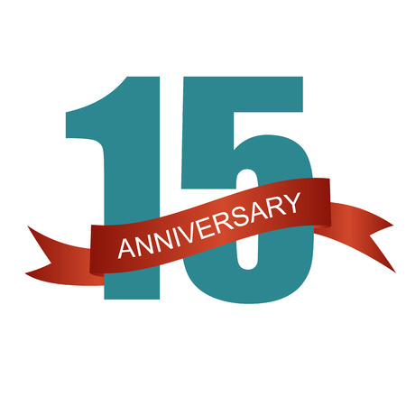 15: Fifteen 15 Years Anniversary Label Sign for your Date. Vector Illustration