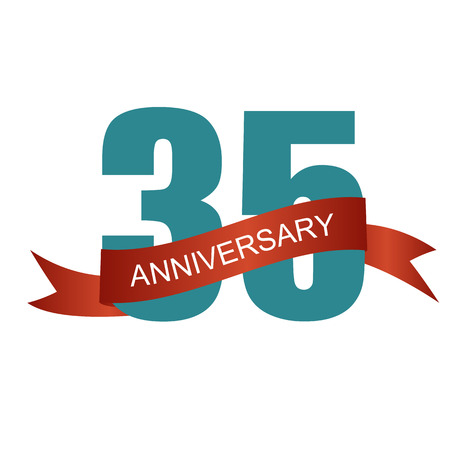 thirty five: Thirty Five 35 Years Anniversary Label Sign for your Date. Vector Illustration Illustration
