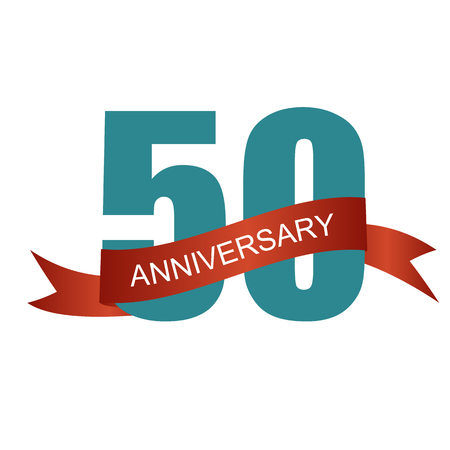 fifty: Fifty 50 Years Anniversary Label Sign for your Date. Vector Illustration