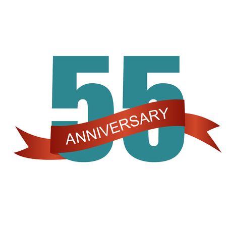 commemoration: Fifty Five 55 Years Anniversary Label Sign for your Date. Vector Illustration Illustration