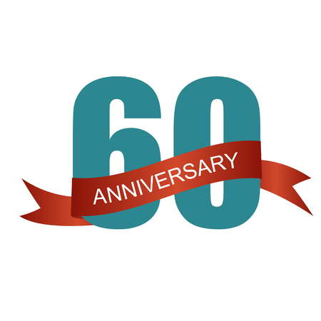 60 years: Sixty 60 Years Anniversary Label Sign for your Date. Vector Illustration