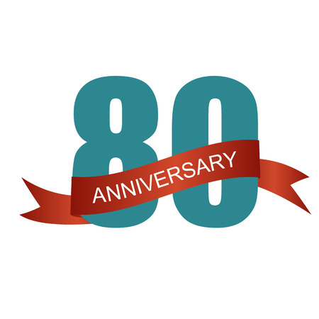 80 years: Eighty 80 Years Anniversary Label Sign for your Date. Vector Illustration Illustration