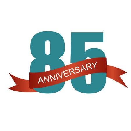 selebration: Eighty Five 85 Years Anniversary Label Sign for your Date. Vector Illustration Illustration