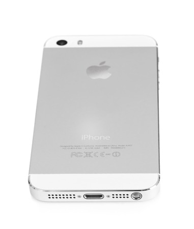 founders: Minsk, Belarus - April 16, 2016: Apple iPhone 5, 5S. White version. Back view. The operating system iOS 9. The founders of the company: Steve Jobs, Ronald Wayne, Steve Wozniak. Apple Inc. Located in USA.