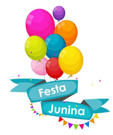 midsummer: Festa Junina Holiday Background. Traditional Brazil June Festival Party. Midsummer Holiday. Vector illustration with Ribbon, Balloons and Flags. Illustration