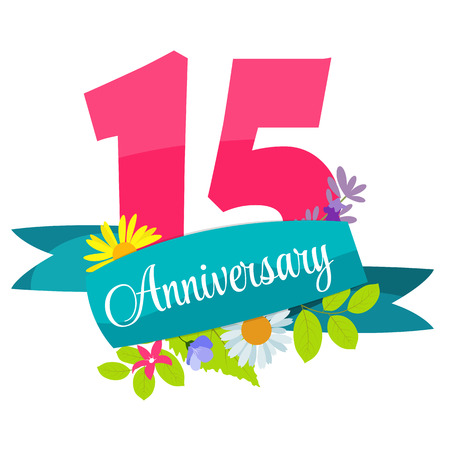 selebration: Cute Template 15 Years Anniversary Sign Vector Illustration