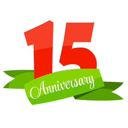 15 years: Cute Template 15 Years Anniversary Sign Vector Illustration