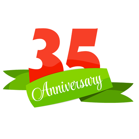 35: Cute Template 35 Years Anniversary Sign Vector Illustration
