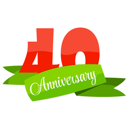 selebration: Cute Template 40 Years Anniversary Sign Vector Illustration