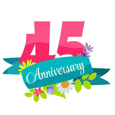 45: Cute Template 45 Years Anniversary Sign Vector Illustration Illustration