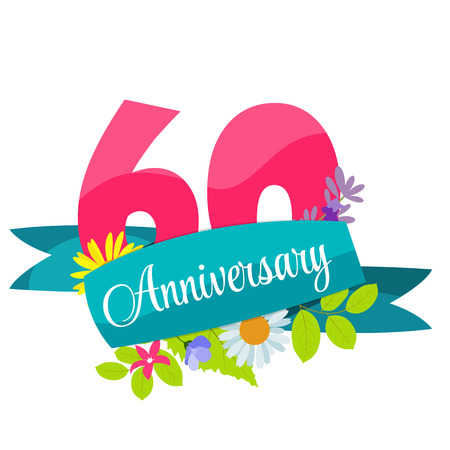 60 years: Cute Template 60 Years Anniversary Sign Vector Illustration Illustration