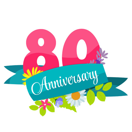 80 years: Cute Template 80 Years Anniversary Sign Vector Illustration