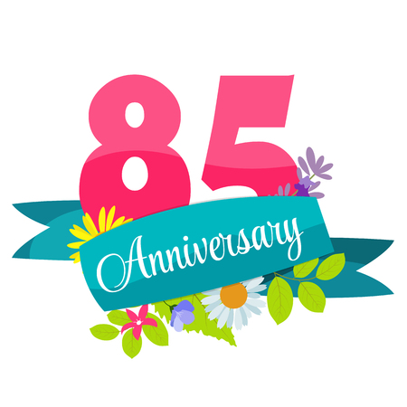 selebration: Cute Template 85 Years Anniversary Sign Vector Illustration Illustration