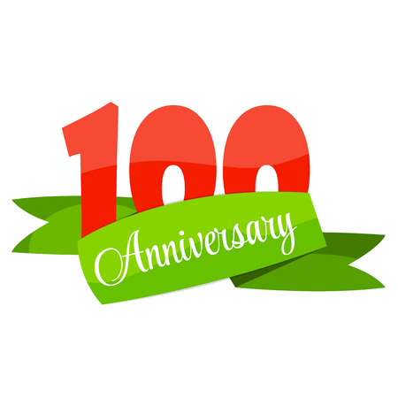 selebration: Cute Template 100 Years Anniversary Sign Vector Illustration