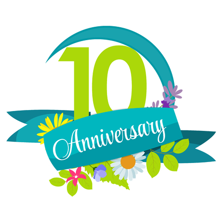 10 years anniversary: Cute Nature Flower Template 10 Years Anniversary Sign Vector Illustration