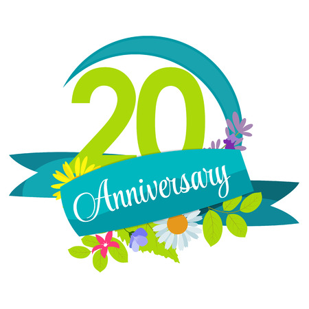 selebration: Cute Nature Flower Template 20 Years Anniversary Sign Vector Illustration
