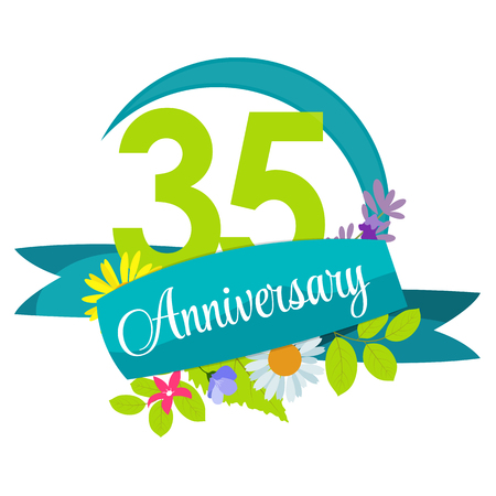 35: Cute Nature Flower Template 35 Years Anniversary Sign Vector Illustration Illustration