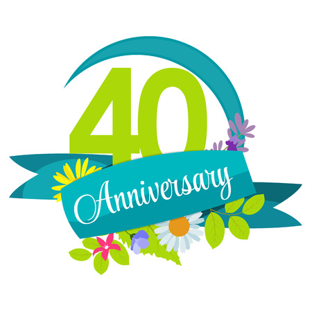 40 years: Cute Nature Flower Template 40 Years Anniversary Sign Vector Illustration Illustration