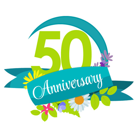 50 years: Cute Nature Flower Template 50 Years Anniversary Sign Vector Illustration