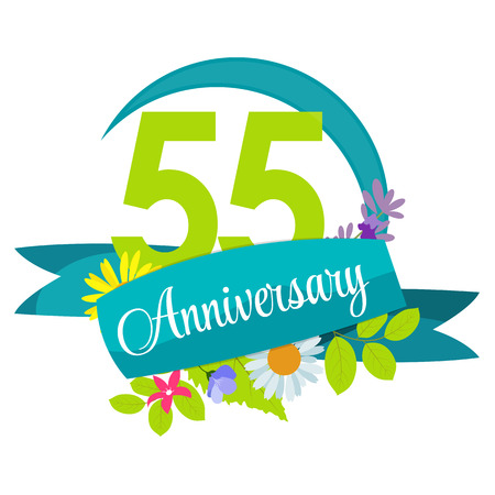 selebration: Cute Nature Flower Template 55 Years Anniversary Sign Vector Illustration Illustration