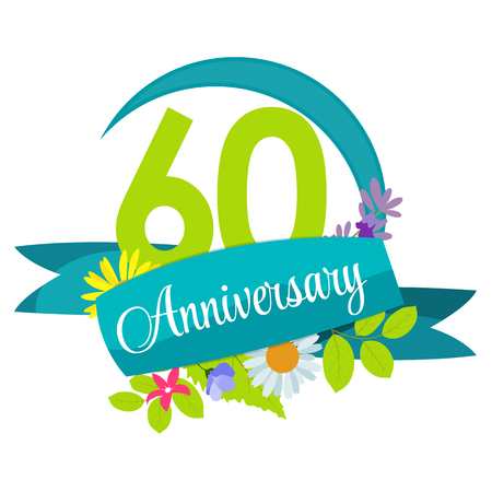 selebration: Cute Nature Flower Template 60 Years Anniversary Sign Vector Illustration Illustration