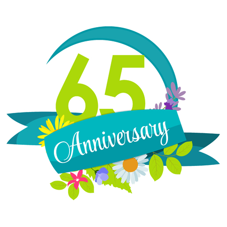 65: Cute Nature Flower Template 65 Years Anniversary Sign Vector Illustration Illustration