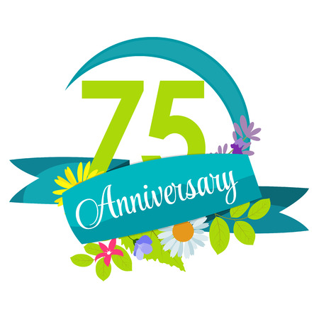flower age: Cute Nature Flower Template 75 Years Anniversary Sign Vector Illustration