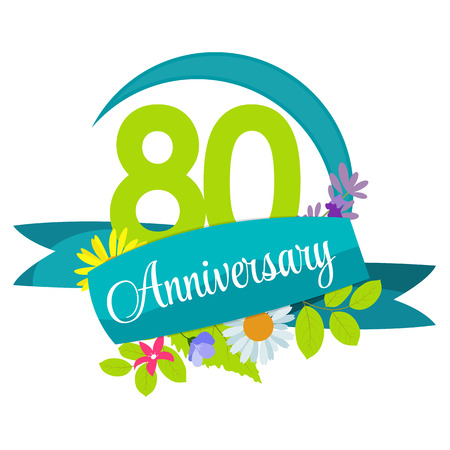 80 years: Cute Nature Flower Template 80 Years Anniversary Sign Vector Illustration Illustration