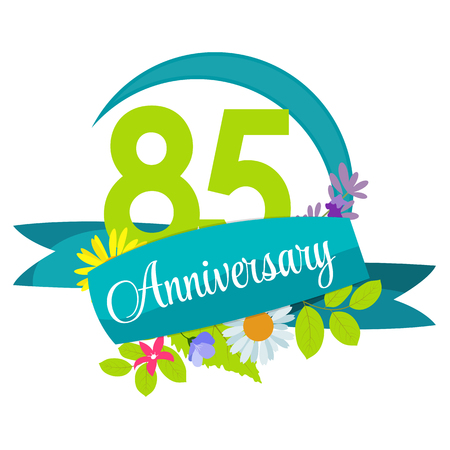 selebration: Cute Nature Flower Template 85 Years Anniversary Sign Vector Illustration