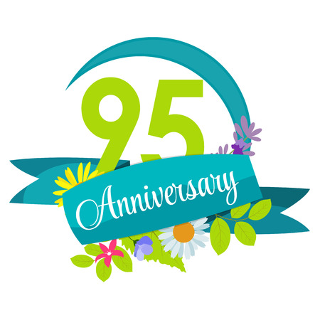 95: Cute Nature Flower Template 95 Years Anniversary Sign Vector Illustration
