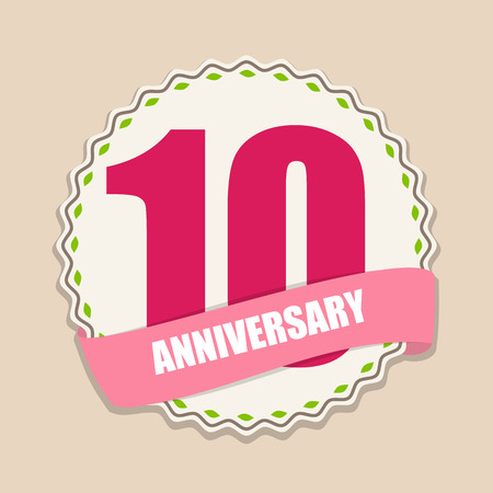 selebration: Cute Template 10 Years Anniversary Sign Vector Illustration