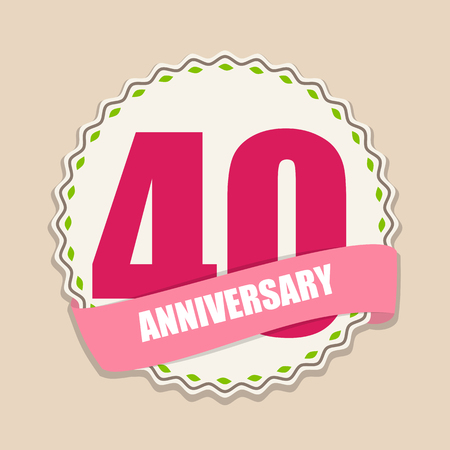 40 years: Cute Template 40 Years Anniversary Sign Vector Illustration