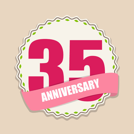 selebration: Cute Template 35 Years Anniversary Sign Vector Illustration