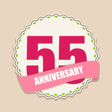 commemoration: Cute Template 55 Years Anniversary Sign Vector Illustration