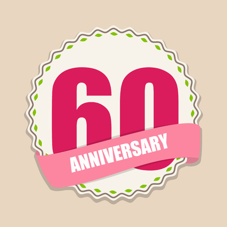 age 60: Cute Template 60 Years Anniversary Sign Vector Illustration Illustration