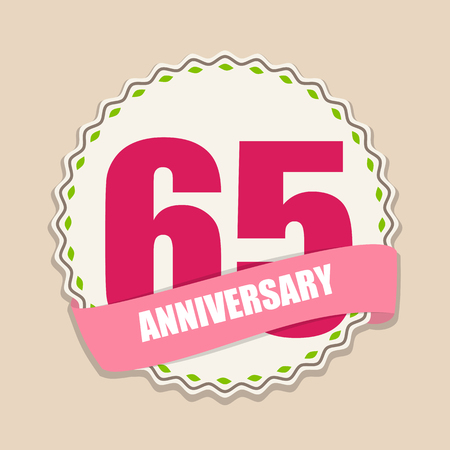 65: Cute Template 65 Years Anniversary Sign Vector Illustration Illustration
