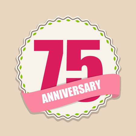 selebration: Cute Template 75 Years Anniversary Sign Vector Illustration