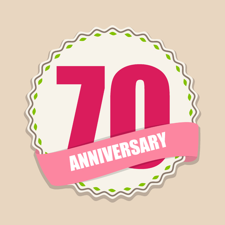 70 years: Cute Template 70 Years Anniversary Sign Vector Illustration Illustration